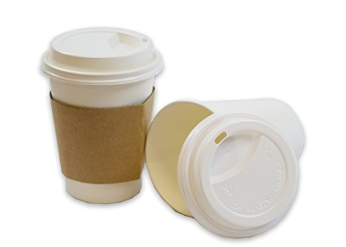 2dayShip White Paper Hot Coffee Cups with Lids and Sleeves, White, 12 Ounces, 50 Count