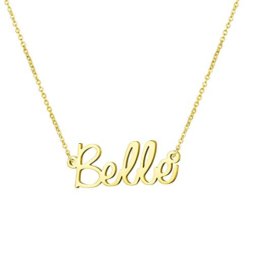 Belle Necklace Gold - Yiyang 18K Gold Name Necklace Personalized Plated Stainless Steel Jewelry Birthday Gift for Girls Belle