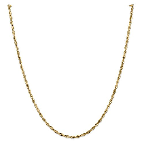 14K Yellow Neckalce 2.9MM 24 INCH Long 14ky 2.8mm Semi-Solid Rope Chain ()