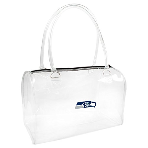 NFL Seattle Seahawks Clear Bowler Handbags, 10.5 x 4.5 x 6.5-Inch, Clear