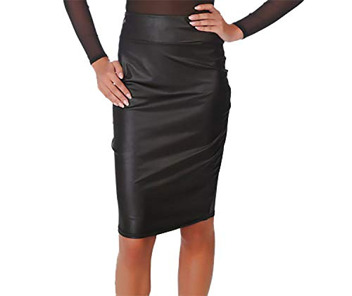 Pretty Fashion Wet Look Pencil Skirt Women's Faux Leather Bodycon Skirt Ladies Fitted Stretch Shiny Pencil Skirt…
