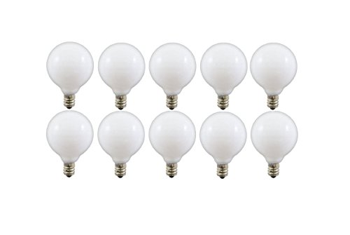 Pack of 10 25 Watt White G16.5 Decorative E12 Candelabra Base Globe Shape 120V 25G16 1/2 Light Bulbs