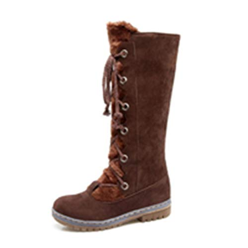 Women Mid Calf Snow Boots Faux Suede Non Slip Winter Block Low Heel Lace Up Round Toe Riding Boot