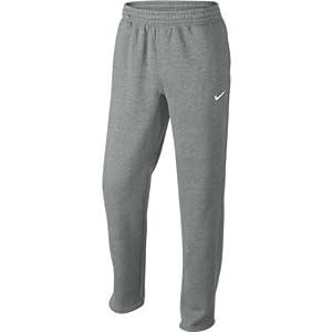 Nike Club Swoosh Men's Fleece Sweatpants Pants Classic Fit, X-Large - Heather Grey/White