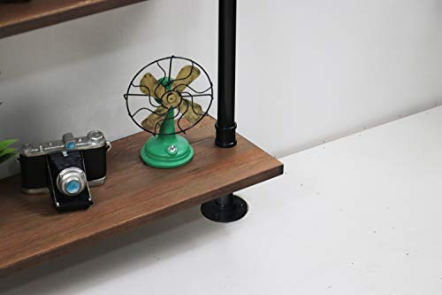 KINMADE Industrial Pipe Shelf Wall Shelf Rustic Wood with Black Iron Pipe 6 Tier by KINMADE (Image #3)