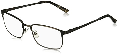 Foster Grant Men's Braydon Multifocus Glasses 1018252-100.COM Rectangular Reading Glasses, Gunmetal, 1