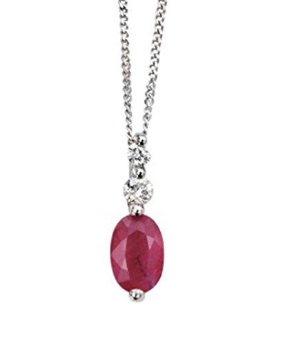 9ct or blanc diamant et rubis Pendentif