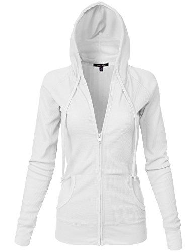 Basic Kangagoo Pocket Thermal Knit Hoodie Jackets, White Medium
