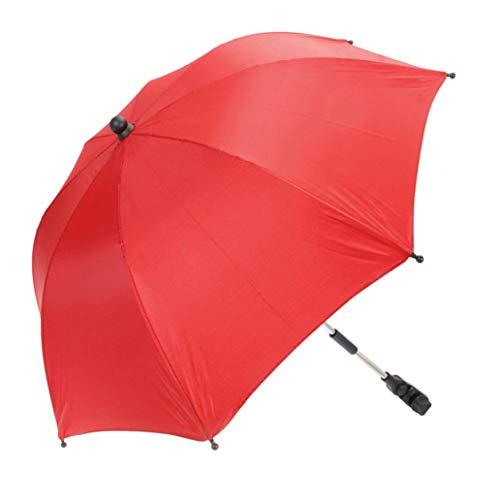 Baby Carriages Umbrella, Sttech1 Wheelchair Pushchair Baby Stroller Umbrella and Holder Parasol UV Rays Rain Sun Canopy Sun Shadow Shade Baby Cart Umbrella (Red)