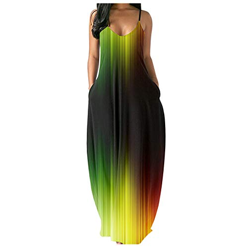 Bnaona Long Dresses for Women,Women's Sleeveless V-Neck Print Summer Long Maxi Dress Plus Size Sundress