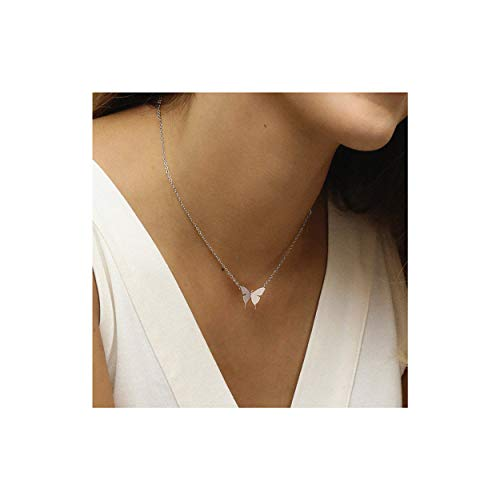 (Tiny Butterfly Charm Necklace,18K Sterling Silver Plated Dainty Cute Necklace Minimalist Simple Chain Butterfly Handmade Pendant Necklace Jewelry for Women,Girl,Children)