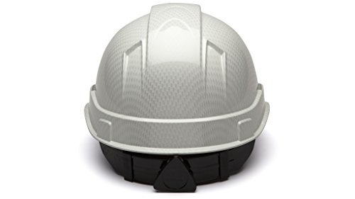 Cap Style Hard Hat, Adjustable Ratchet 4 Pt Suspension, Durable Protection safety helmet, White Shiny Graphite Pattern Design, by Tuff America by Pyramex (Image #1)