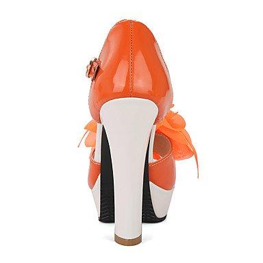 Talones de las mujeres Primavera Verano Otoño Otro de cuero oficina y carrera del partido y vestido de noche Chunky talón Rhinestone Flor Amarillo Verde Naranja Orange