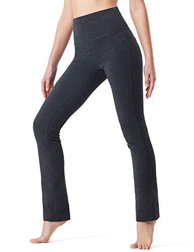 Fold Pant Crop Over - NAVISKIN Women's Fold Over Yoga Lounge Pants Active Workout Stretch Outdoor Pants Back Pocket Grey Size L