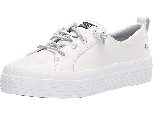 Sperry Womens Crest Vibe Platform Leather Sneaker, White, 7