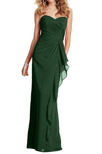 Geraft Braut Dunkel Gruen La Partykleider Einfach Brautjungfernkleider Abendkleider mia Herzausschnitt Chiffon Lang wFnUxpqI