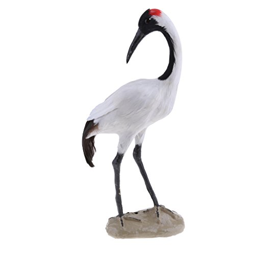 Flameer 1pc Artificial Magpie, Woodpecker, Shrike, Throstle, Peacock Bird Realistic Life Like Figurine Statue Home Garden, Beautiful and Natural - #9 Red-Crowned Crane