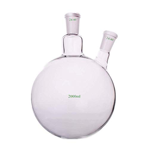 (Dinglab,2000ml,24/40,2-Neck,Round Bottom Glass Flask,2L Reaction Vessel,Double Necks)