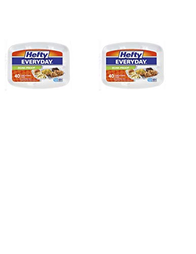 (Hefty Rectangular Foam Compartment Party Plates, 40 Count (Pack of 2))