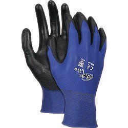 Memphis Small Ninja Lite 18 Gauge Black Polyurethane Palm And Fingertip Coated Work Gloves With Feather Light Blue Nylon Liner And Knit -