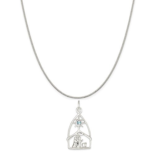 Mireval Sterling Silver and Crystal Nativity Charm on a Sterling Silver Carded Box Chain Necklace, 18