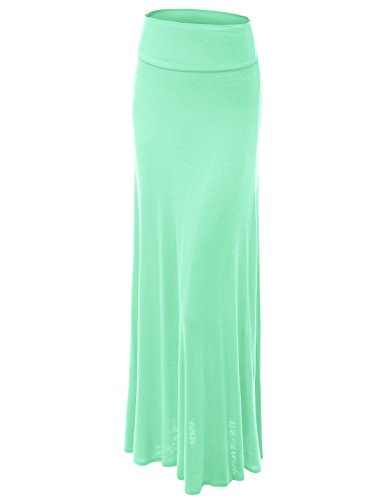 Long Mint (Made By Johnny WB670 Womens Fold-Over Maxi Skirt L MINT)