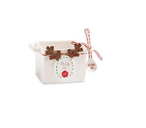 Mud Pie 4885003R Reindeer Nut Candy Bowl Set, White by Mud Pie