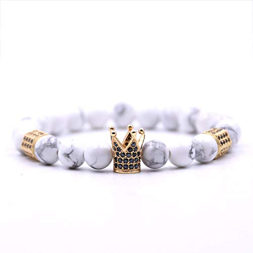 jfcn-e Crown Bracelet Charms Men Jewelry 8mm Beads Bracelet Bracelets Bangles Masculina for Women,Blue Zinc Plated from jfcn-e