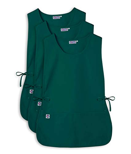 Cobbler Smock - Sivvan Unisex Cobbler Apron - Adjustable Waist Ties, 2 Deep front pockets (3 Pack) - S87003 - Hunter Green - X