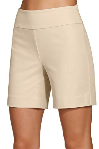 Boston Proper Women's Everyday Side Zip Stretch Twill High Rise Seven-Inch Short Stone 6