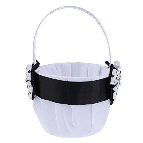 Jili Online Romantic Rhinestone Basket Bowknot Black White Dot Satin Wedding Ceremony Party Flower Girl Basket Bridesmaid