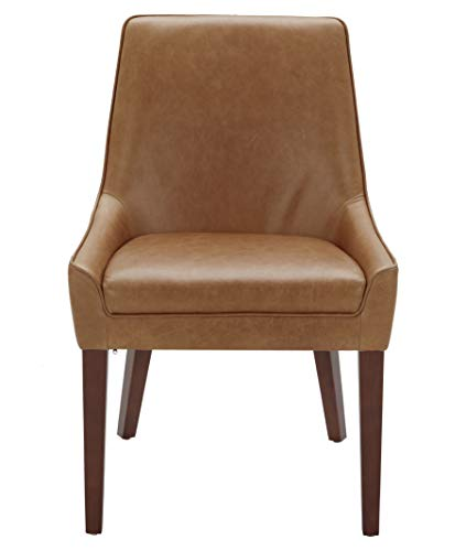 """Amazon Brand – Rivet Contemporary Welt-Trimmed Dining Chair, 35""""H, Cognac, Set of 2 - The understated welt trim provides a decorative element to this simple but chic dining chair. The cognac-colored leather upholstery will blend with any color scheme and is durable and low maintenance. A solid wood frame and legs support this comfortable, low-armed seat. 23""""W x 25""""D x 35""""H; seat height: 20""""H; seat depth: 17""""D; seat back height: 15""""H Set of 2 - kitchen-dining-room-furniture, kitchen-dining-room, kitchen-dining-room-chairs - 31SULVKQBqL -"""