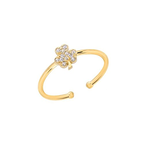 Shamrock Cluster (Mini Mini Jewels 14k Yellow Gold Brilliant Diamond Cluster Lucky Clover Shamrock Adjustable Ring - Size 5.75)