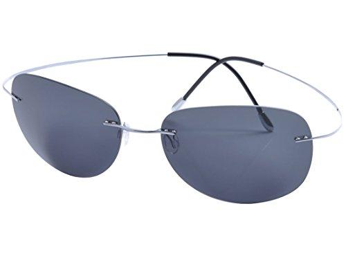 (De Ding Mens rimless titanium polarized Sunglasses (silver, gray))