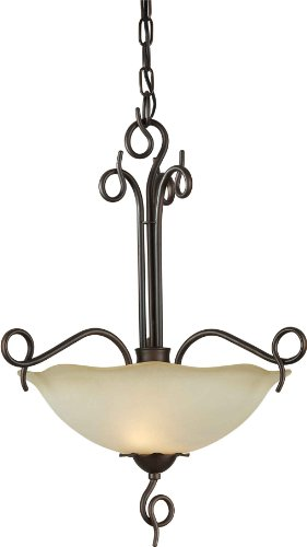 Forte Lighting 2463-02-32 Pendant with Shaded Umber Glass Shades, Antique Bronze