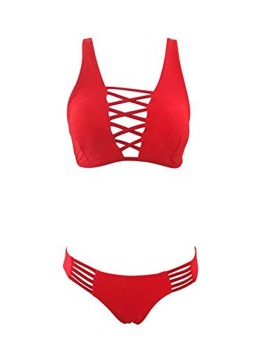 Zando Womens Bandage Strappy Criss Cross Two Piece Bikini Set Swimsuit Cutout Brazilian Bathing Suit Swimwear Red Large (US (Female 2 Piece Cross)