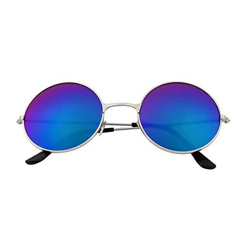 Soleil de Miroir Femmes Lunettes Rondes Hommes Coloré Durable UV400 Cadre Aluminium Lentille Lunettes En Qualité Vintage Protection UV400 Blue x1wqHaBgT1