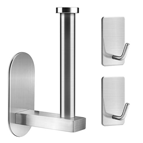 KATUMO Toilet Paper Holder with 2 Towel Hooks, Self Adhesive Stainless Steel Brushed Tissue Paper Roll Towel Holder for Bathroom no Drilling Wall Mount