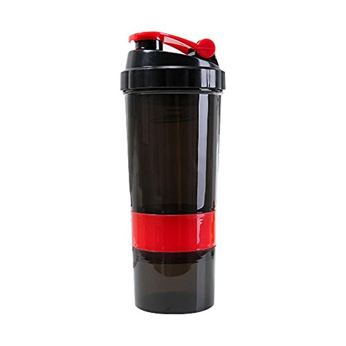 Pawaca Protein Shaker Bottle - Sports Water Bottle, 500ml/17oz Leakproof Three-tier Design with Spring, Stackable Shaker Bottle For Protein Mixes Leak Proof Gyms Sports Shaker Cup(Red)