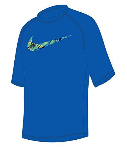 Nike Boy's Watercamo Short Sleeve Rash Guard S Hyper Cobalt (Boys Nike Swim Shirts)