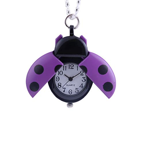 Orcbee  _Creative Small Seven-Star Ladybug Pocket Watch Gift for Kids (Purple)