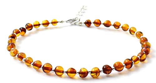 Baltic Amber Adult Anklet with Sterling Silver 925-9 inches - Adjustable - Polished Cognac Beads (Cognac, 9-10.2 inches)