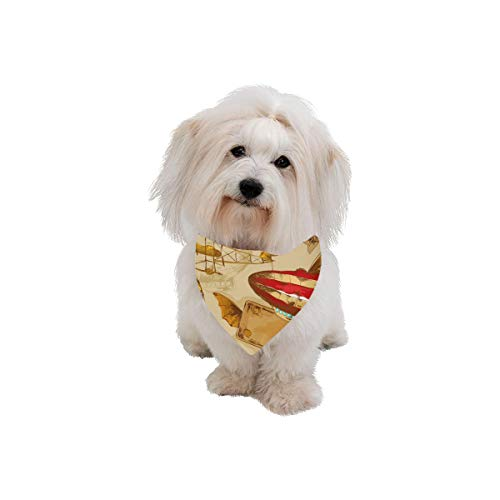 AIKENING Pet Dog Cat Bandana Surreal Sky Landscape Steampunk Airship Fairy Fashion Printing Bibs Triangle Head Scarfs Kerchief Accessories for Large Dog Pet Birthday Party Easter Gifts