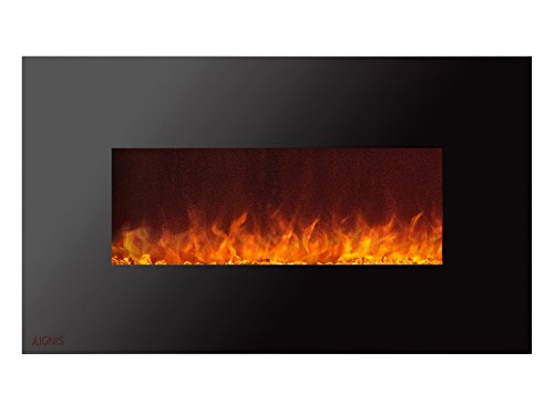 Ignis Duke 36 inch Wall Mounted Electric Fireplace with Crystals