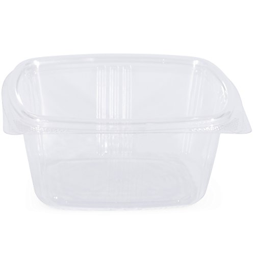 Simply Deliver 16 oz Hinged Lid Deli Container with Complete Air-Tight Seal, Crystal Clear PET, 200-Count
