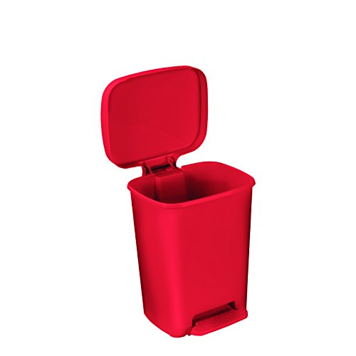 McKesson 81-25267 Entrust Waste Can, Plastic, Rectangular, 26'' Height, 15'' Width, 12'' Length, 13 gal, Red, Rectangular