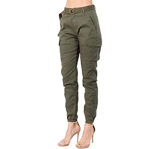 Cargo Trousers for Womens Camo Pants Camouflage Pants Elastic Waist Belt Casual Outdoor Jogger Pants with Pocket