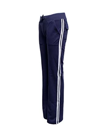 Navy Blue Ladies White Side Stripe Athletic Pocket Track Pants