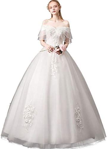 XuZeLii Hochzeitskleid Damen Abendkleid Spitze Wort Schulter Traum Braut Brautkleid Geeignet für eine formelle Hochzeit (Color : White, Size : S)