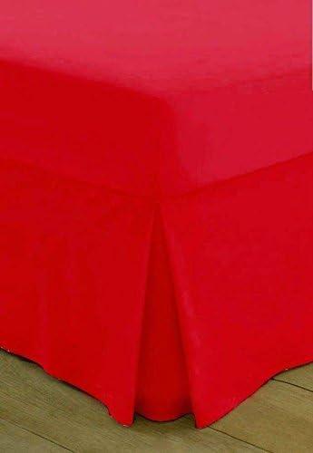 Sábana bajera ajustable cama Sábanas 100% algodón egipcio 200 hilos paquete Hotel calidad disponible en todos los tamaños y colores., algodón, Rojo, T200 Valance Double Only: Amazon.es: Hogar